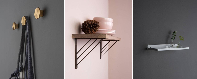 gold bauhaus wall hooks, ingrid shelf brackets and oolong white metal shelf