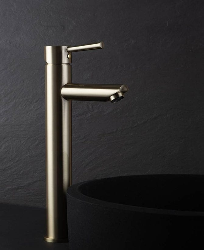 Inga high basin bathroom mixer tap brushed gold