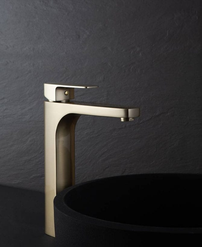 Satin Gold Kalandula high basin bathroom mixer tap