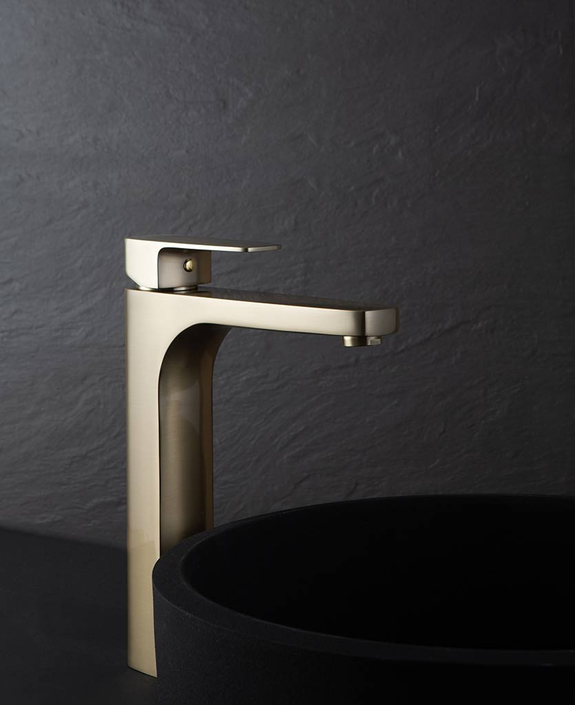 Satin Gold Kalandula high basin bathroom mixer tap