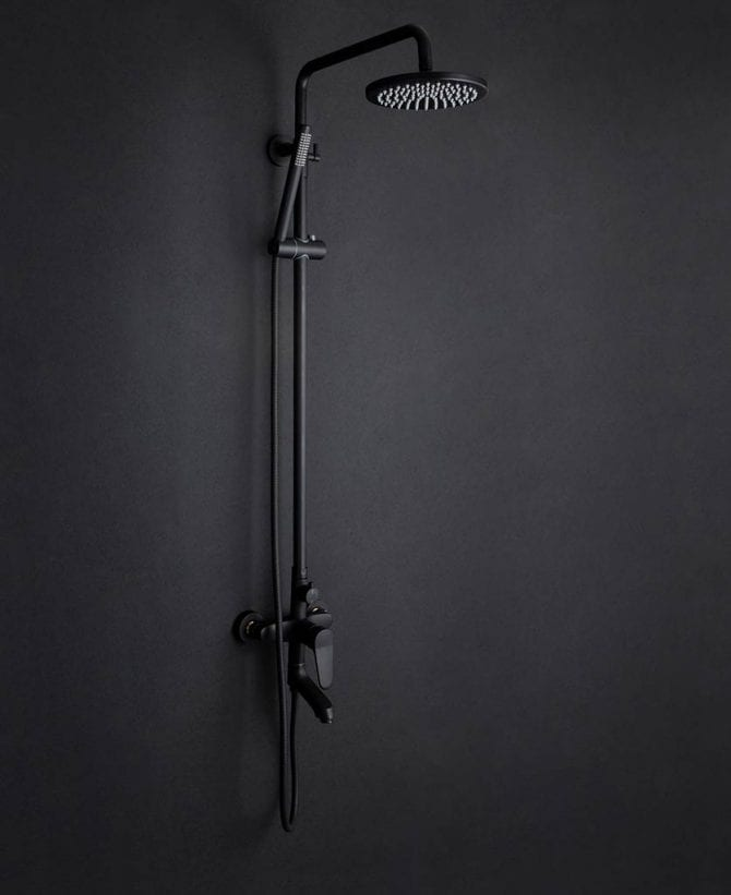 Tinago black wall mounted shower