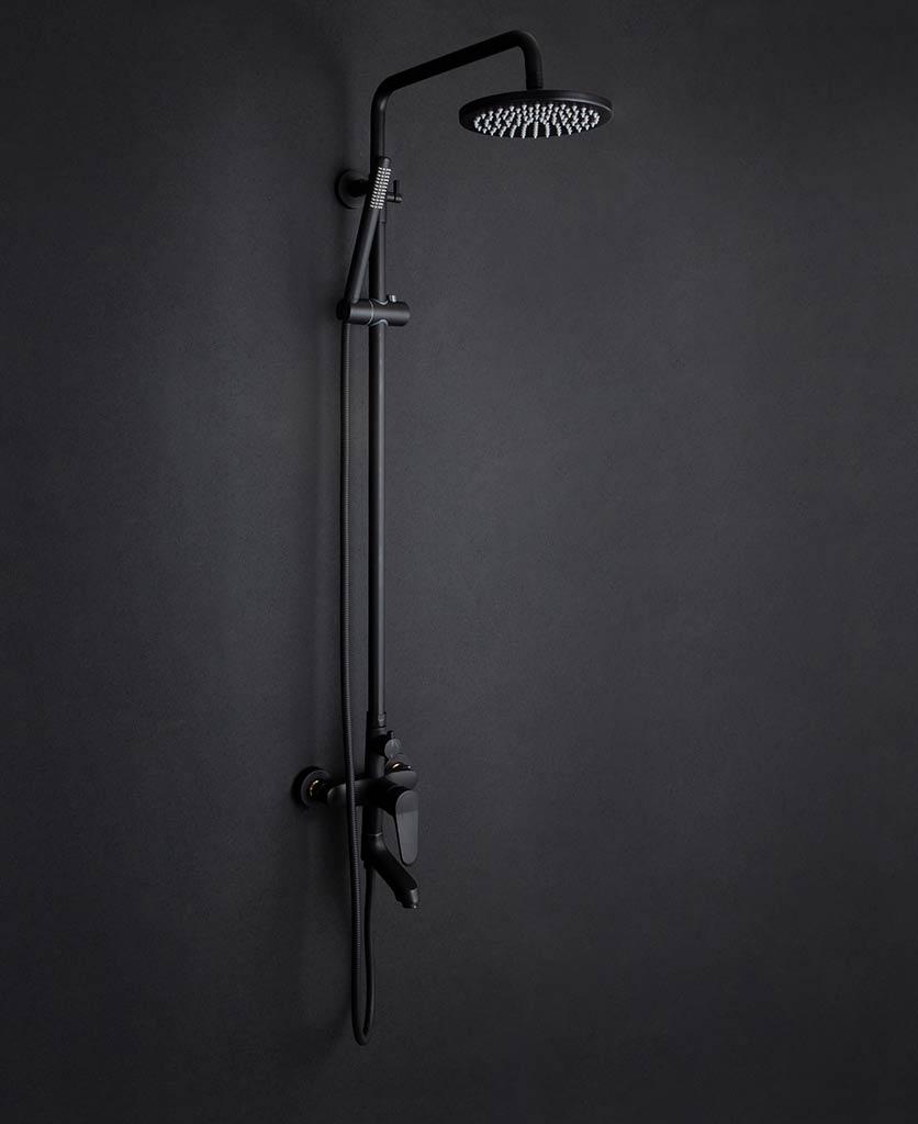 Tinago black rainfall wall-mounted shower on dark grey background
