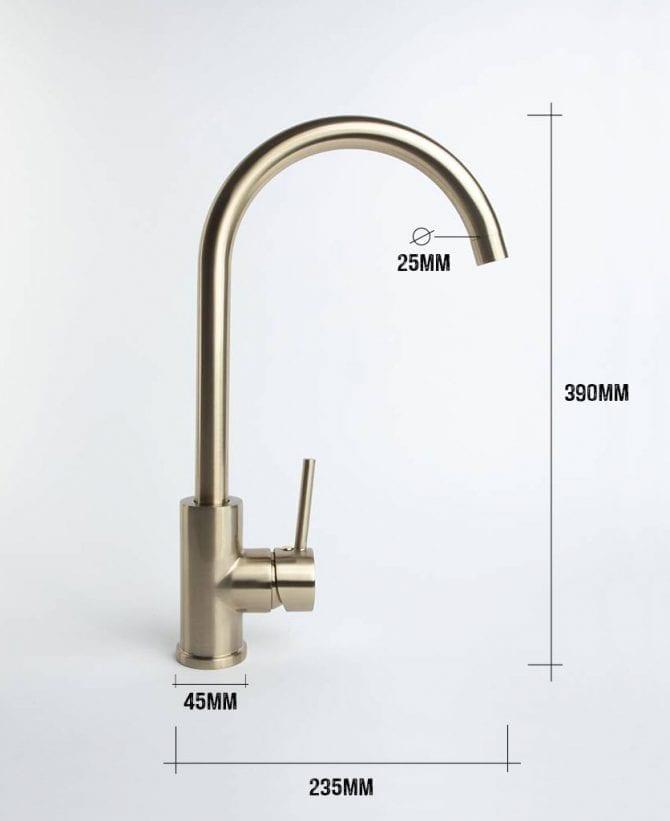 Tinkisso kitchen tap dimensions