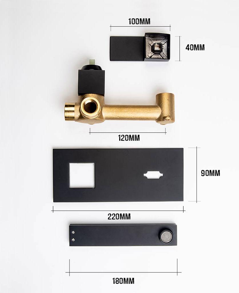 yuntia wall mounted bathroom tap black dimensions