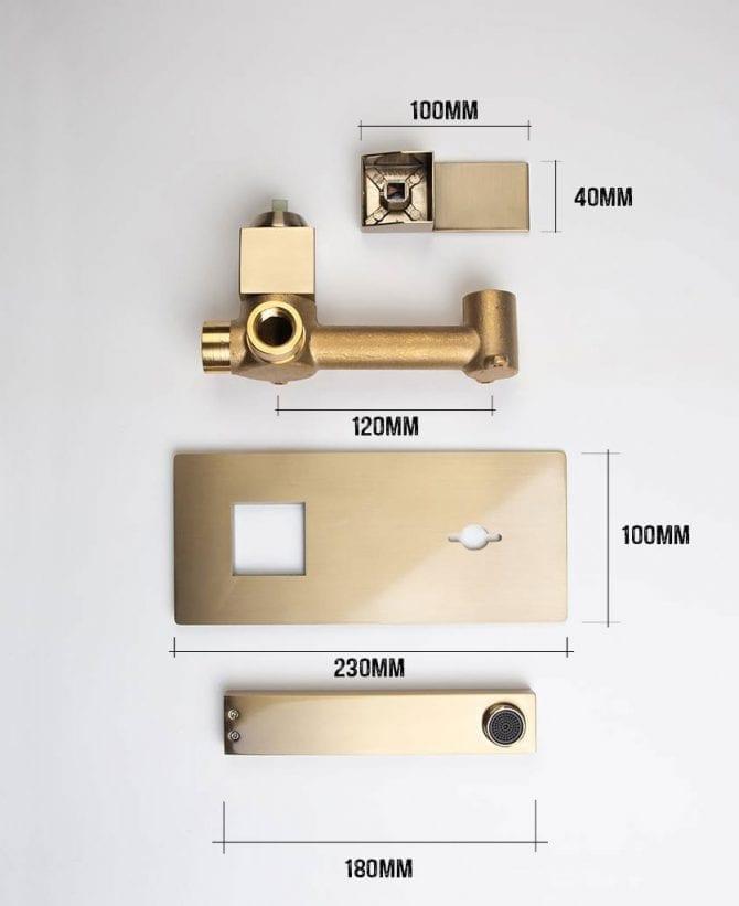 yuntai wall mounted bathroom tap satin gold dimensions