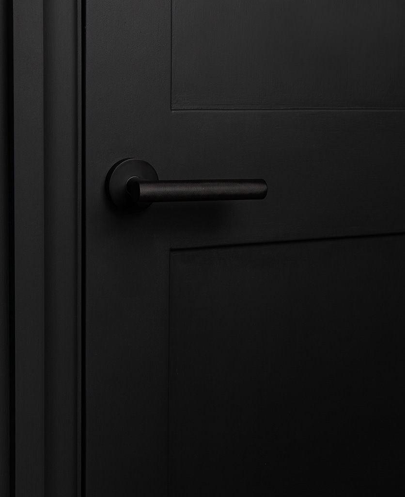 black modern door handle on black door