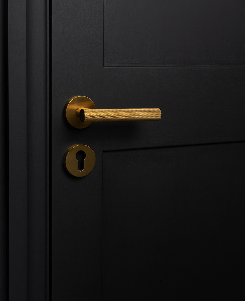 gold modern door handle with escutcheon plate on black door