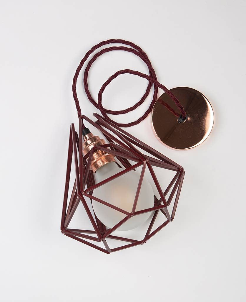small hibiscus metal light shade with copper bulb holder frosted bulb red fabric cable and copper ceiling rose on white background