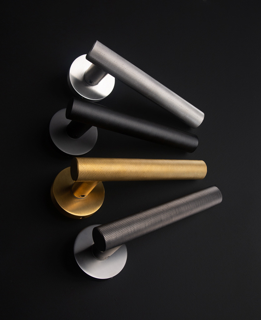 modern door handles on a black background