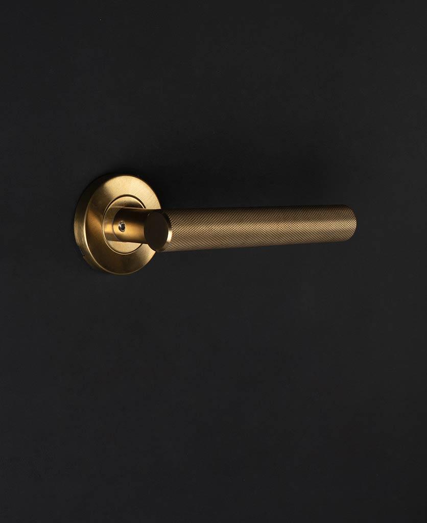 gold hirst door handle on black background