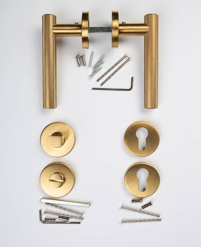 Hirst door handle thumb lock key escutcheon plate