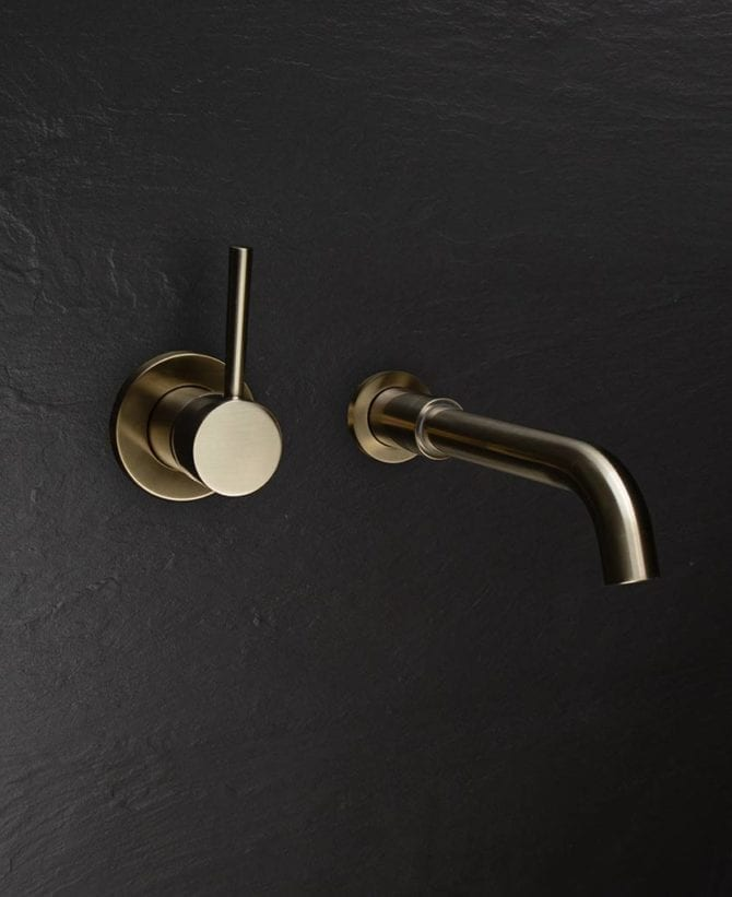 Brushed gold bathroom taps - Jadipai tap mounted on the wall