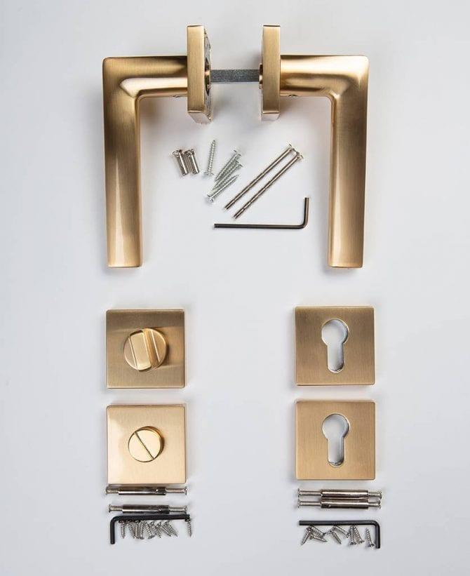 Lowry door handle thumb lock key escutcheon plate