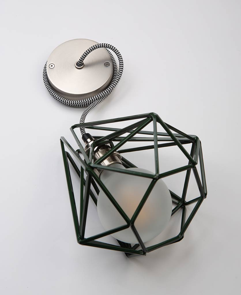 small matcha metal cage light with silver bulb holder frosted bulb black & white fabric cable and silver ceiling rose on white background