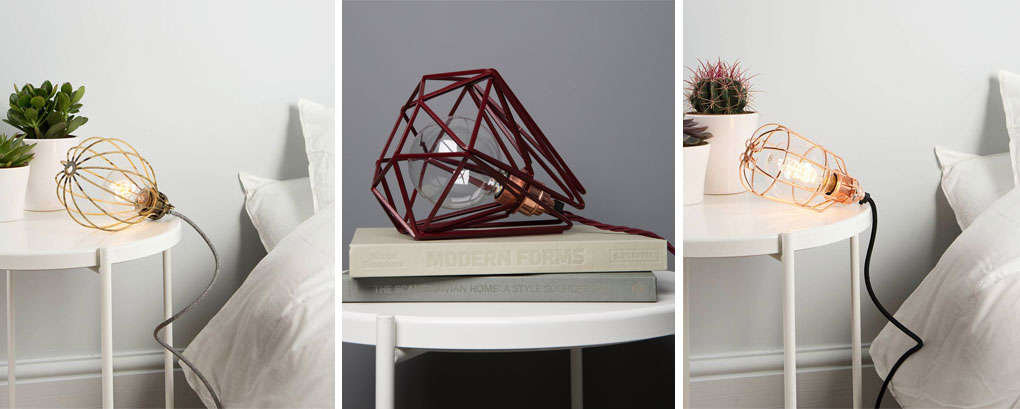 collage of table lamps; smoked gold ballooon lamp, hibiscus geometric cage lamp and copper cage light shade