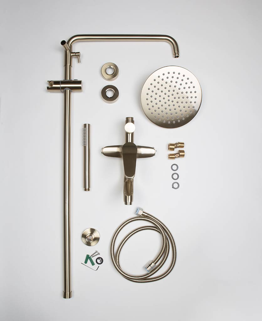Tinago gold wall-mounted shower flat lay of components on white background