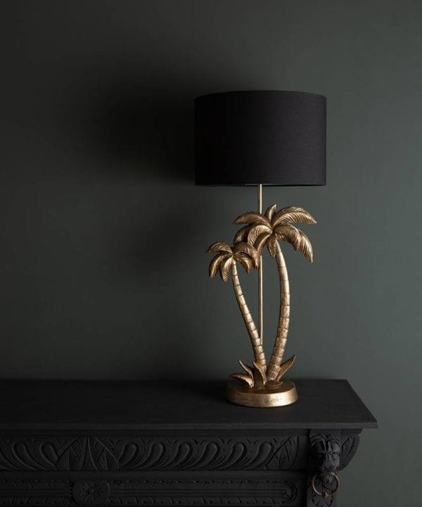 Aloha black and gold palm tree table lamp