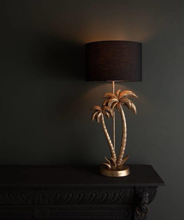 Aloha gold palm tree lamp base with black shade