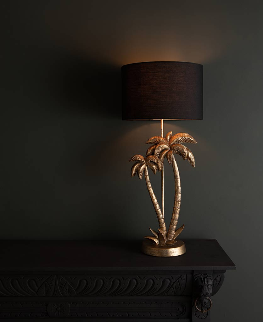 Aloha gold palm tree lamp base with black shade