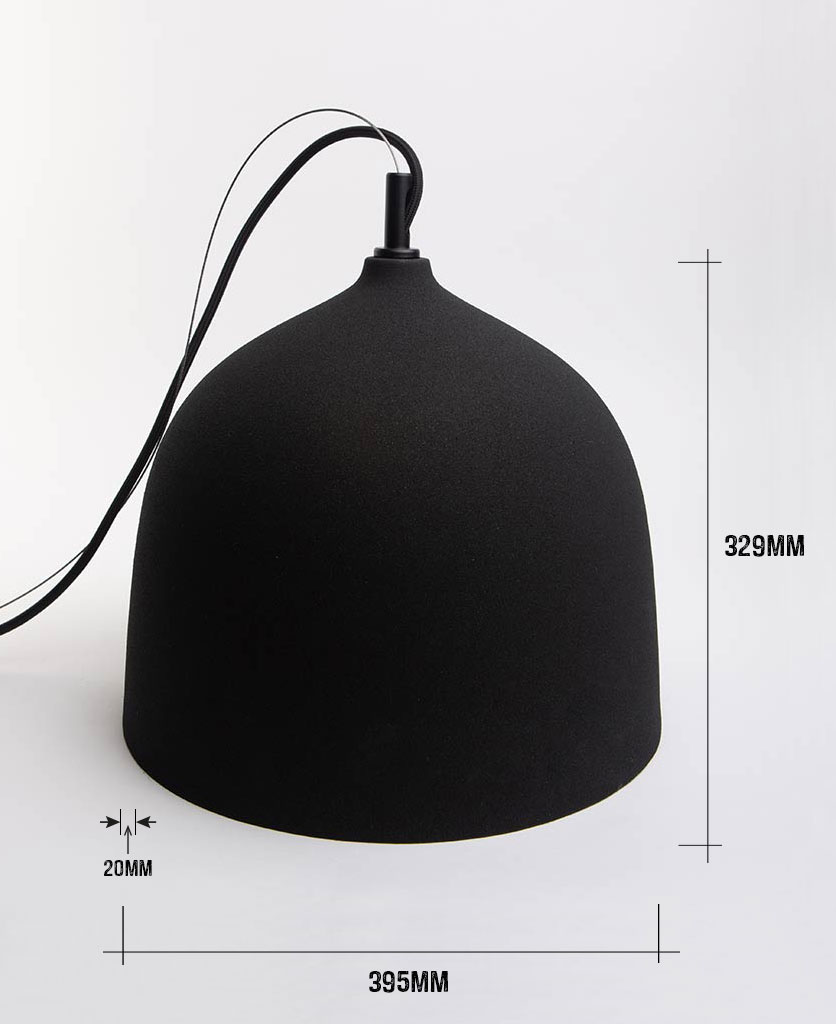 large basque bowl pendant light with dimensions on white background