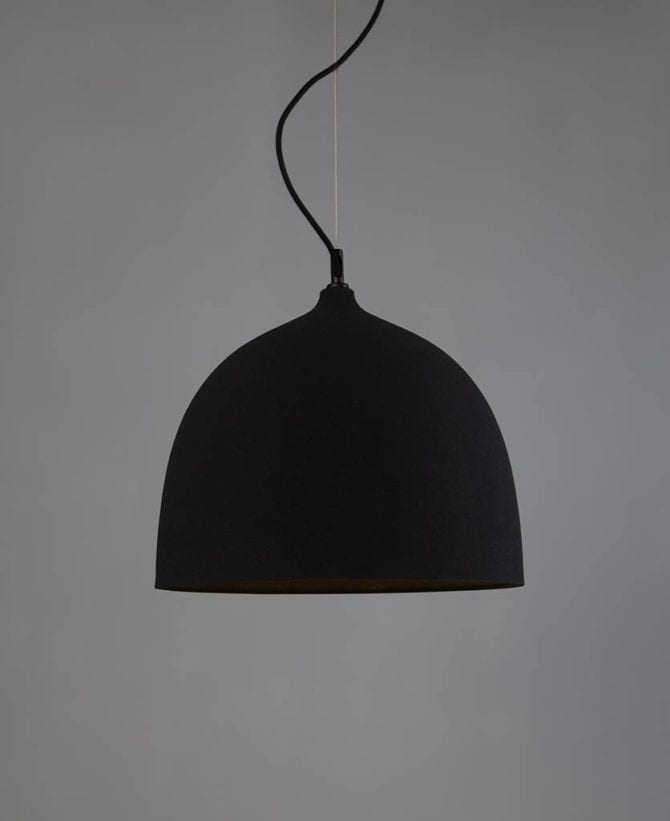Basque black bowl pendant light