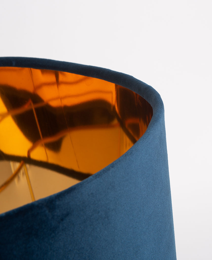 Harlow table lamp close up of blue velvet shade with copper coloured lining on white background