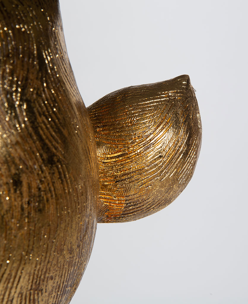 Close up of Hartley hare rabbit tail gold floor lamp on white background