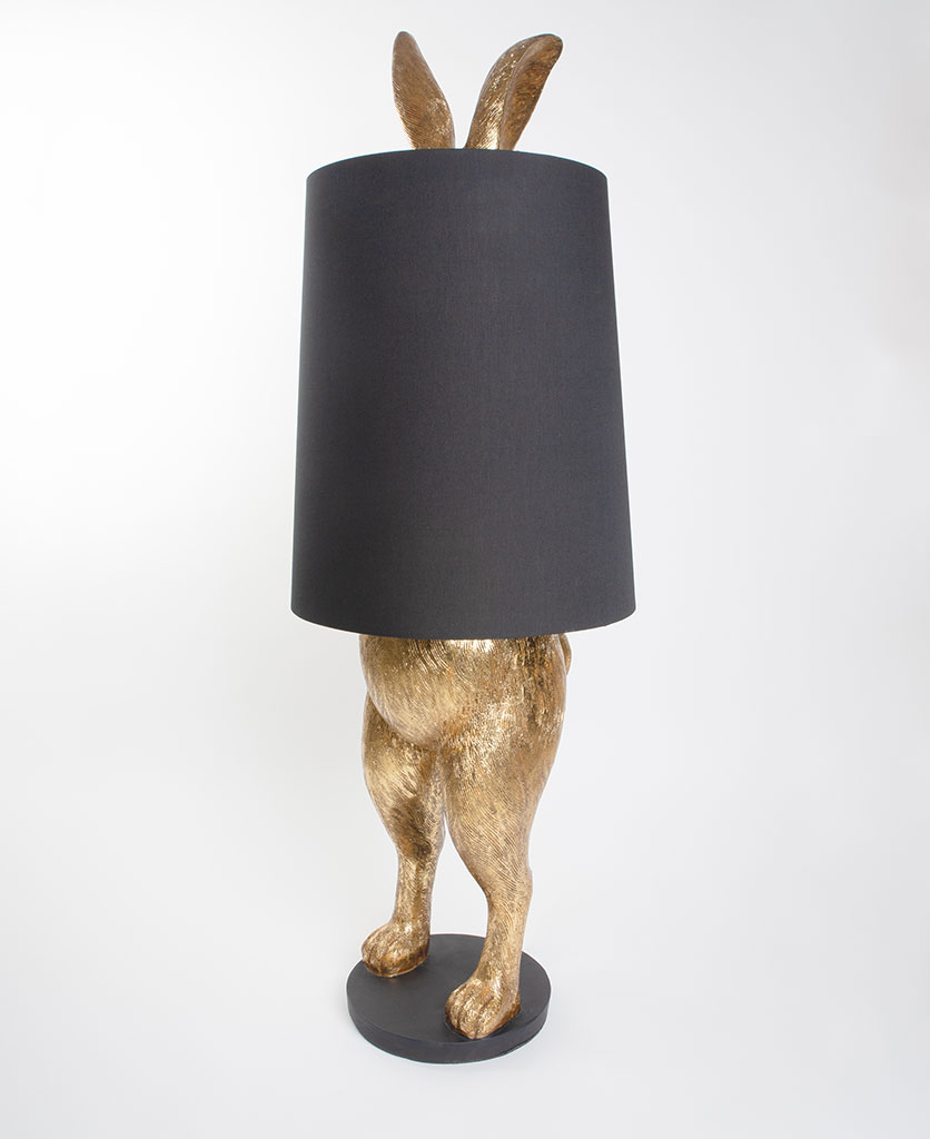 hartley hare lamp gold rabbit lamp with black shade against white backdrop