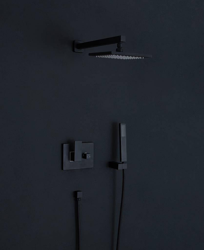 Hannoki black concealed shower