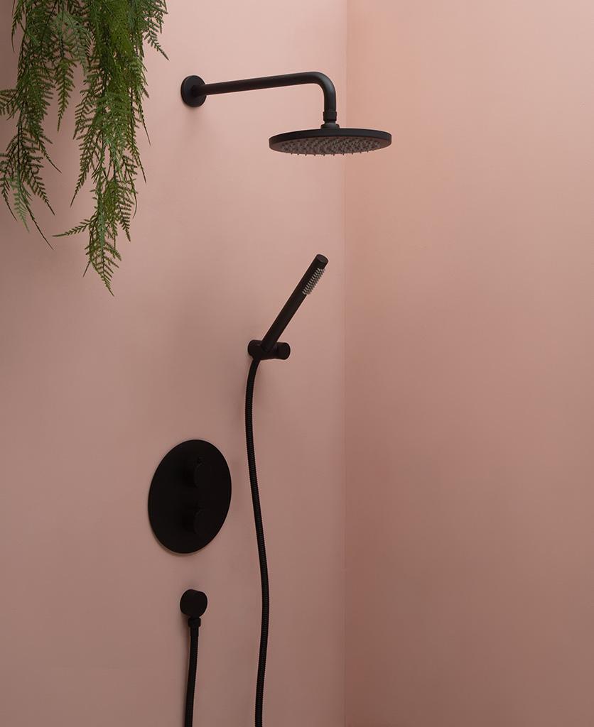 Havasu black Thermostatic shower on pink background