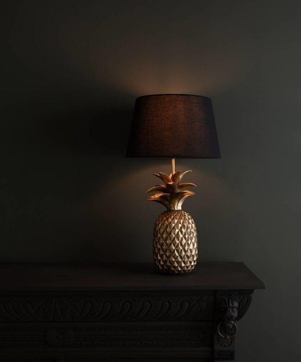 Hula Pineapple Lamp with gold base and black shade