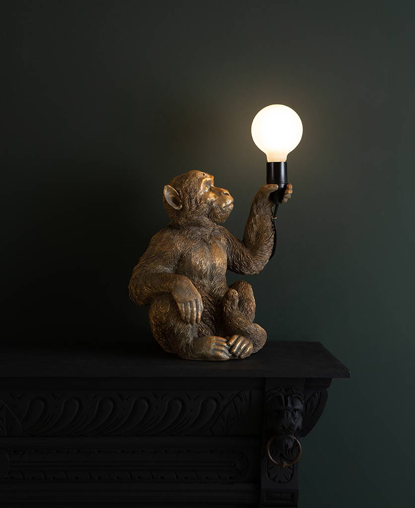 abu gold sitting monkey table lamp on dark background holding switched on lightbulb