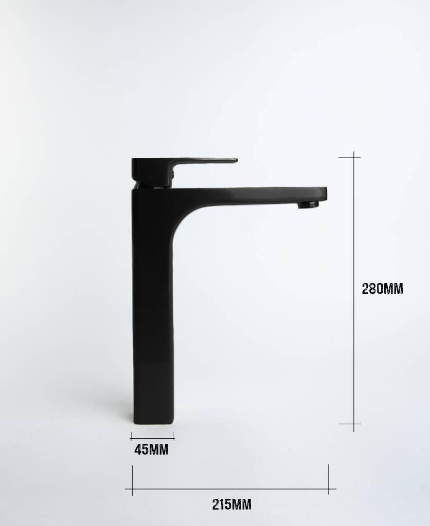 Kalandula tall matt black bathroom mixer tap with dimensions height 280mm length 215mm width 45mm