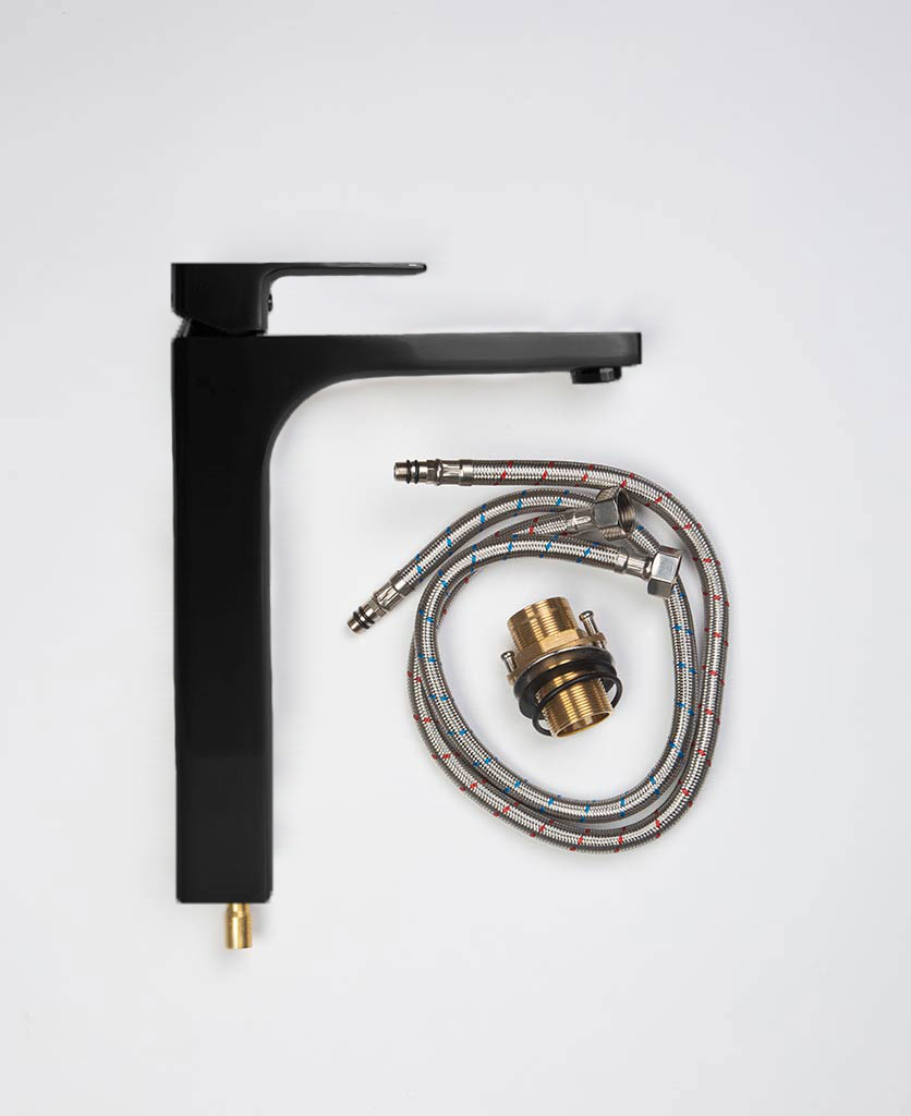 Kalandula tall square matt black bathroom mixer tap with components and connecting flexi-hose flat lay on white background