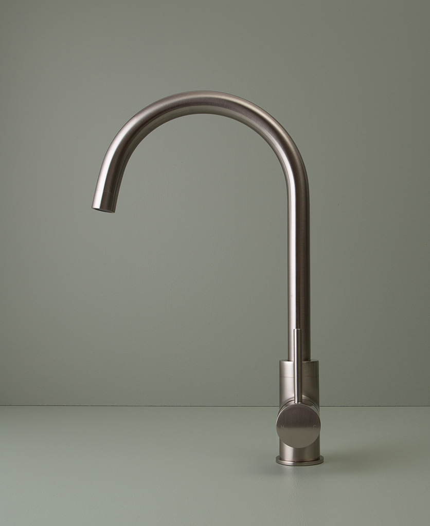 silver tinkisso tap side angle on grey-green background