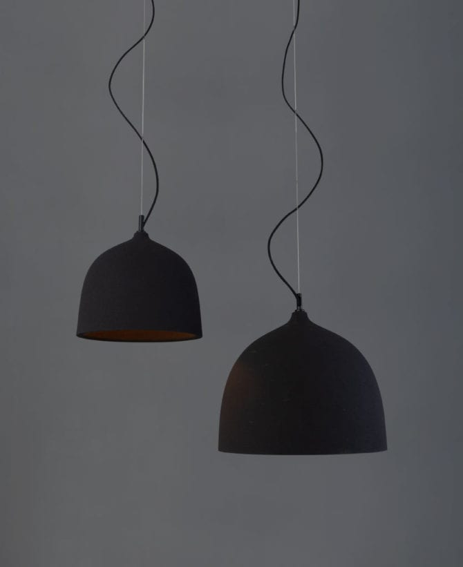Basque Black Large and Small Bowl Pendant