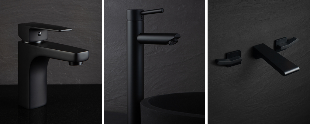 collage of black taps