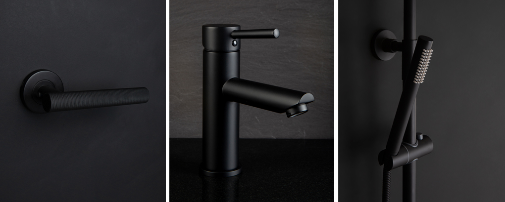 Black handles and taps