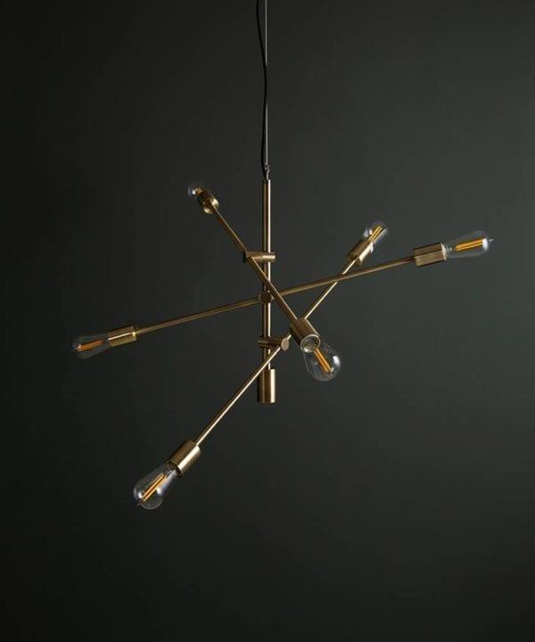 Brass Trikonasana multi arm pendant light with clear bulbs
