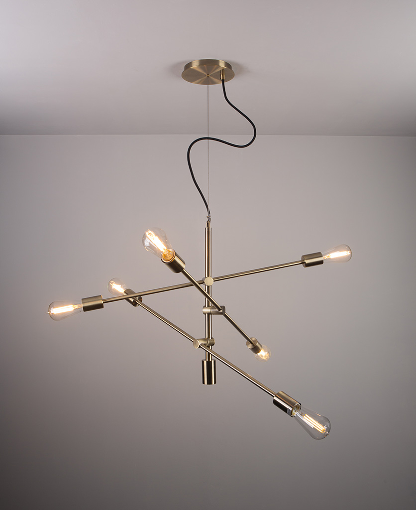 feature pendant light with clear pear bulbs on grey background