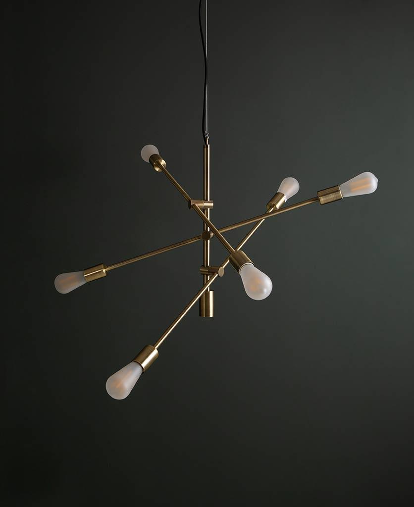 Brass Trikonasana multi arm pendant with frosted bulbs