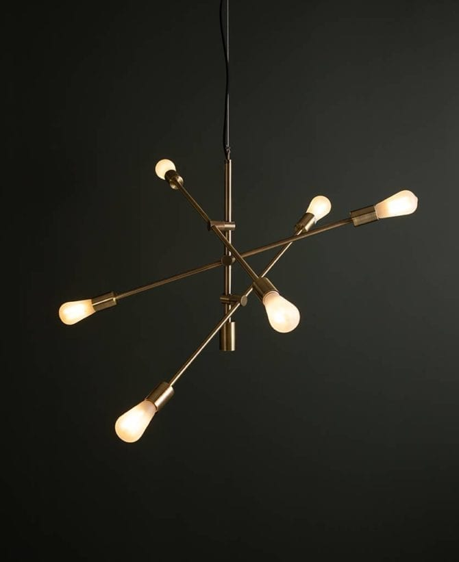 Brass Trikonasana pendant light with frosted bulbs