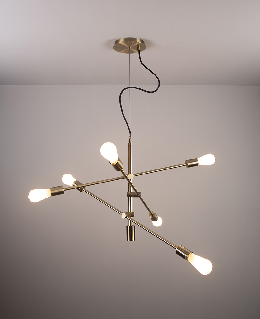 feature pendant light with frosted pear bulbs on grey background