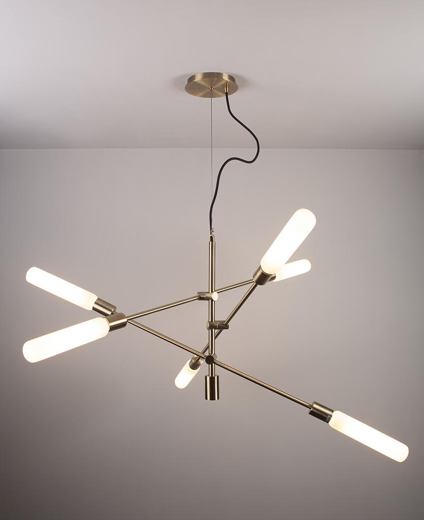 brass modern chandelier with luna opal bulbs