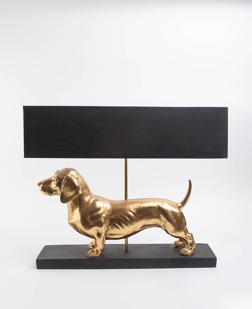 Gold and black dachshund dog table lamp