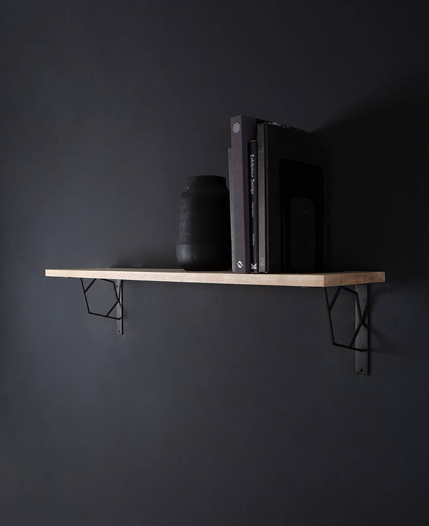 large marlene oak shelf and brackets on black background