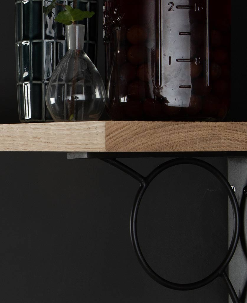 mae oak shelf and brackets close up on back background