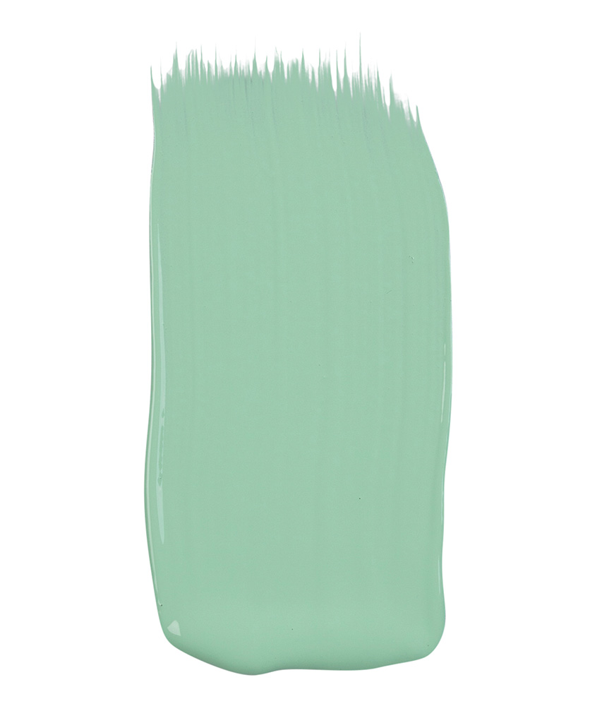 mint green paint sample on white background