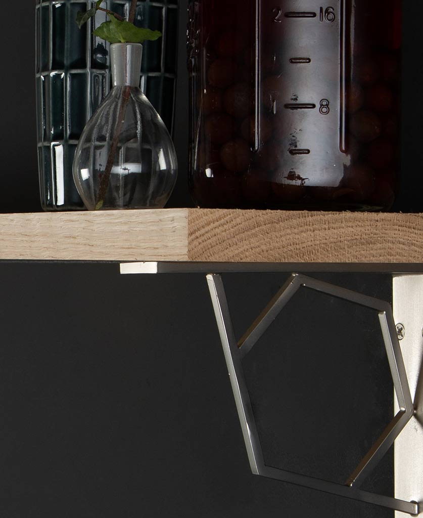 small dull nickel marlene oak shelf and brackets close up