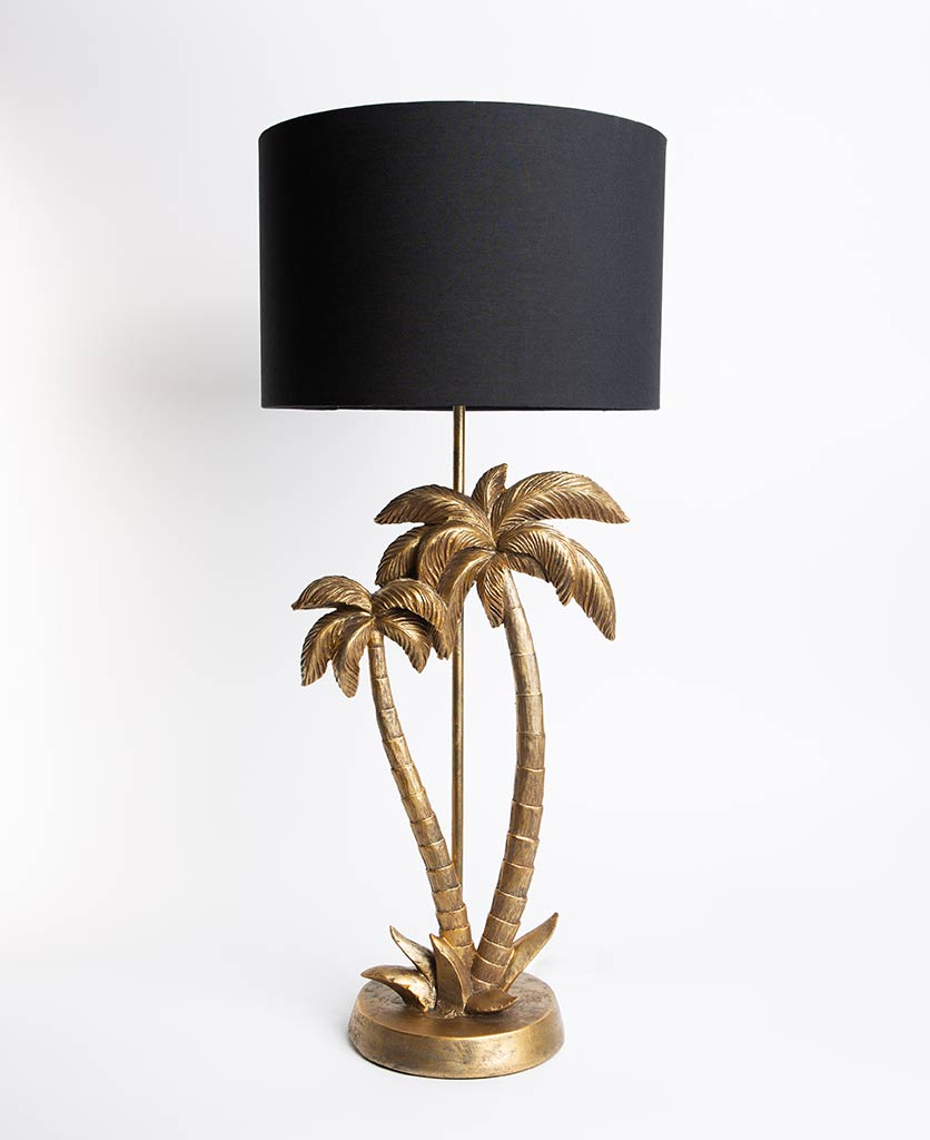 Black and gold palm tree table lamp